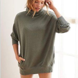 Aerie Cowl Neck Tunic Sweatshirt Olive Green